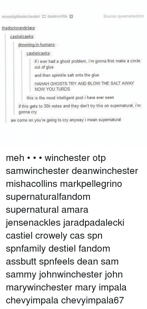Sprinkle Salt: Source: queenabaddon  moonlightwinchester  bask evrille  the doctorandclara:  tielcaeks  n-humans  drownin  castielca  if i ever had a ghost problem, im gonna first make a circle  out of glue  and then sprinkle salt onto the glue  HAHAH GHOSTS TRY AND BLOW THE SALT AWAY  NOW YOU TURDS  this is the most intelligent post i have ever seen  if this gets to 30k notes and they don't try this on supernatural, im  gonna cry  aw come on you're going to cry anyway i mean supernatural meh • • • winchester otp samwinchester deanwinchester mishacollins markpellegrino supernaturalfandom supernatural amara jensenackles jaradpadalecki castiel crowely cas spn spnfamily destiel fandom assbutt spnfeels dean sam sammy johnwinchester john marywinchester mary impala chevyimpala chevyimpala67