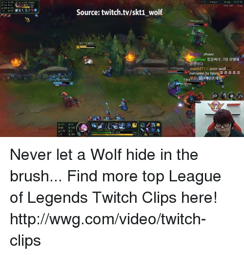 league of legend: Source: twitch tv/skt1 wolf  A  32 15  FPS 109  ohayo  varstando man 2711  poor wolf  is everyone by fakersee ccc Never let a Wolf hide in the brush... Find more top League of Legends Twitch Clips here! http://wwg.com/video/twitch-clips