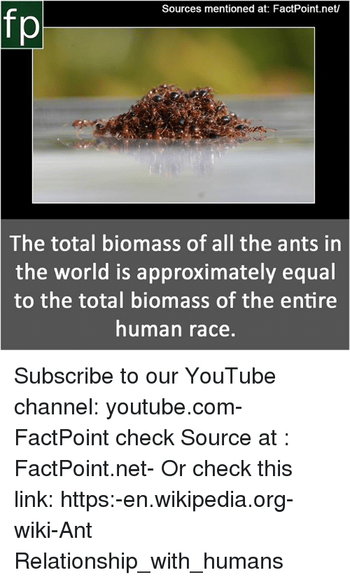 Memes, Wikipedia, and youtube.com: Sources mentioned at: FactPoint.net  fp  The  total biomass of all the ants in  the world is approximately equal  to the total biomass of the entire  human race Subscribe to our YouTube channel: youtube.com-FactPoint check Source at : FactPoint.net- Or check this link: https:-en.wikipedia.org-wiki-Ant Relationship_with_humans