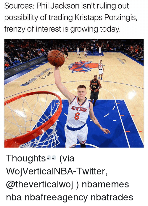 Basketball, Kristaps Porzingis, and Nba: Sources: Phil Jackson isn't ruling out  possibility of trading Kristaps Porzingis,  frenzy of interest is growing today.  15  NEWYORIX Thoughts👀 (via WojVerticalNBA-Twitter, @theverticalwoj ) nbamemes nba nbafreeagency nbatrades