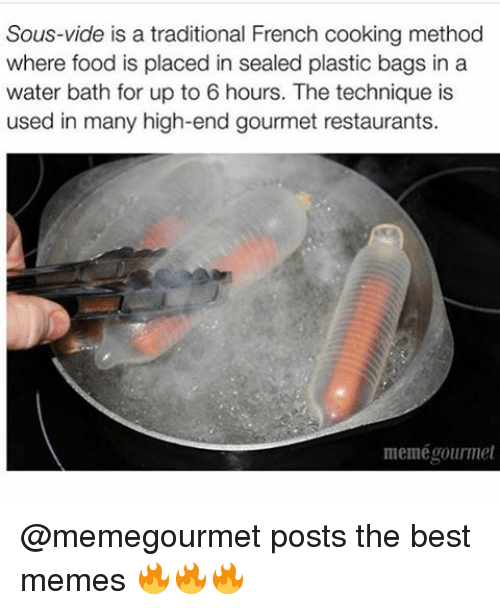 Memes, Seal, and 🤖: Sous-vide is a traditional French cooking method  where food is placed in sealed plastic bags in a  water bath for up to 6 hours. The technique is  used in many high-end gourmet restaurants.  meme gourmet @memegourmet posts the best memes 🔥🔥🔥