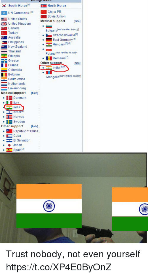 Trust Nobody: South KorealNorth Korea  UN Command:(  United States  China PR  B Soviet Union  Medical supporthide]  Bulgarialnot venified in body]  East Germany  E United Kingdom  Canada  Turkey  Australia  Philippines  Czechoslovakial4  Hungary  5][6]  New Zealand  Thailand  Ethiopia  PolandInot venified in bodyl  Romania  Greece  Other sup  [hidel  France  Colombia  Belgiunm  South Africa  Netherlands  Luxembourg  India 81  Mongolialnot venified in body]  Medical support hide]  Denmark  India  srae  Norway  Sweden  Other support [hide]  Republic of China  Cuba  El Salvador  Japan  Spain!3 Trust nobody, not even yourself https://t.co/XP4E0ByOnZ