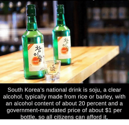 mandate: South Korea's national drink is soju, a clear  alcohol, typically made from rice or barley, with  an alcohol content of about 20 percent and a  government mandated price of about $1 per  bottle, so all citizens can afford it.