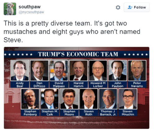hamm: southpaw  o Follow  @nyc Southpaw  This is a pretty diverse team. It's got two  mustaches and eight guys who aren't named  Steve.  TRUMP'S ECONOMIC TEAM  Andy  Harold  Howard M  Dan  David  John  Peter  DiMicco  Malpass  Hamm  Lorber  Paulson  Navarro  Stephen Stephen M.  Stephen  Feinberg  Calk  Steven Thomas J  Steven  Roth  Barrack, Jr.  Mnuchin