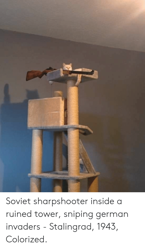 Invaders: Soviet sharpshooter inside a ruined tower, sniping german invaders - Stalingrad, 1943, Colorized.