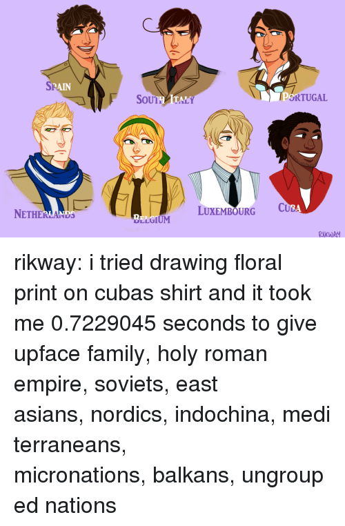 lone wolf: SP  RAIN  SoUTHATALY  ORTUGAL  NETHERLANDS  LUXEMBOURG C  2  LLGIUM  RKWA rikway:  i tried drawing floral print on cubas shirt and it took me 0.7229045 seconds to give upface family,holy roman empire,soviets,east asians,nordics,indochina,mediterraneans,   micronations,balkans,ungrouped nations