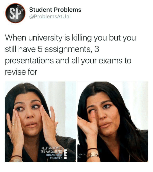 presentations: SP  Student Problems  @ProblemsAtUni  When university is killing you but you  still have 5 assignments, 3  presentations and all your exams to  revise for  KEEPING UP WIT  THE KARDASHIANS  BRAND N  istered7
