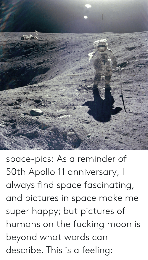 super happy: space-pics:  As a reminder of 50th Apollo 11 anniversary, I always find space fascinating, and pictures in space make me super happy; but pictures of humans on the fucking moon is beyond what words can describe. This is a feeling:
