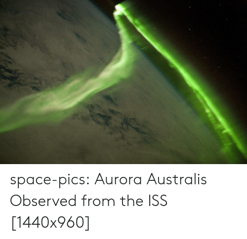 aurora: space-pics:  Aurora Australis Observed from the ISS [1440x960]