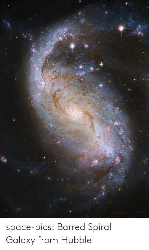 spiral: space-pics:  Barred Spiral Galaxy from Hubble