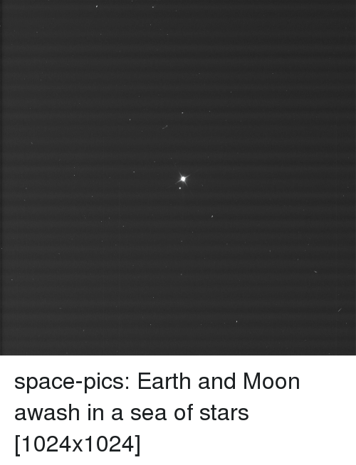 Tumblr, Blog, and Earth: space-pics:  Earth and Moon awash in a sea of stars [1024x1024]