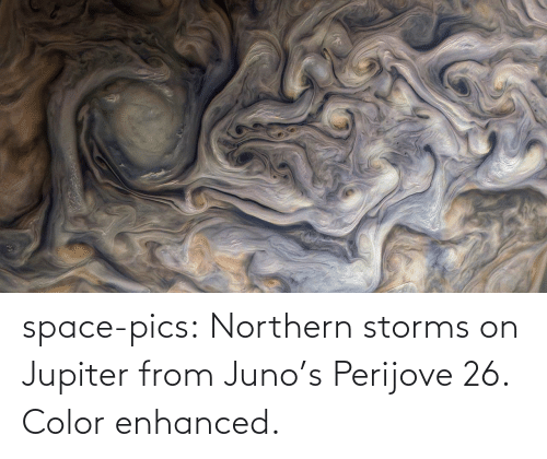 Jupiter: space-pics:  Northern storms on Jupiter from Juno's Perijove 26. Color enhanced.