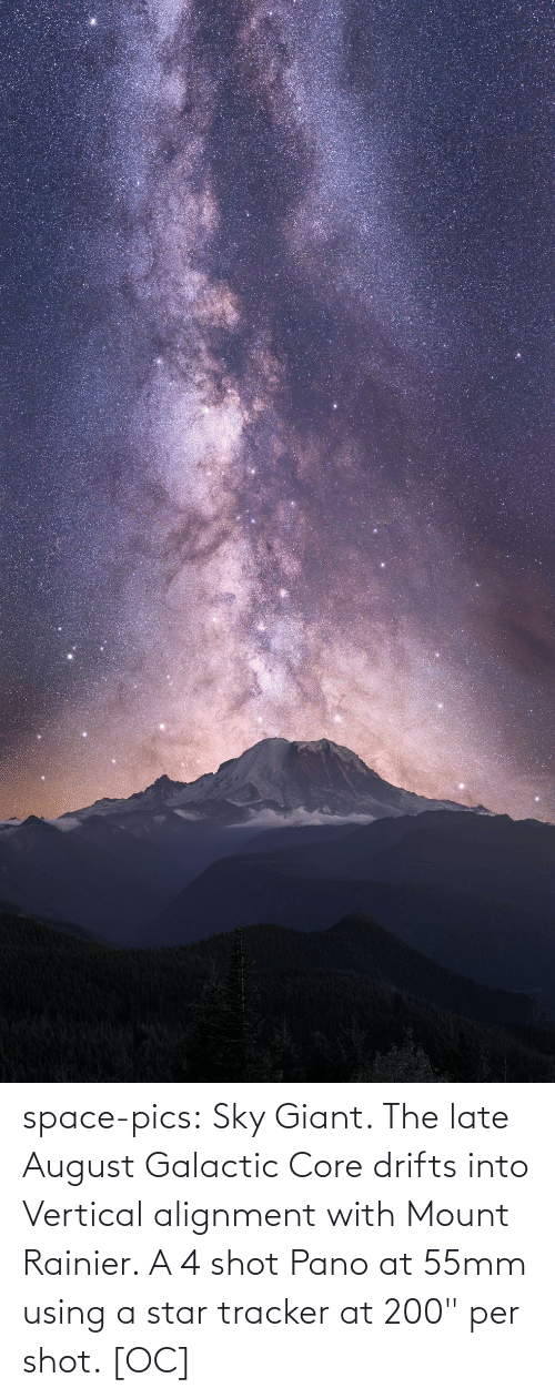 "Per: space-pics:  Sky Giant. The late August Galactic Core drifts into Vertical alignment with Mount Rainier. A 4 shot Pano at 55mm using a star tracker at 200"" per shot. [OC]"