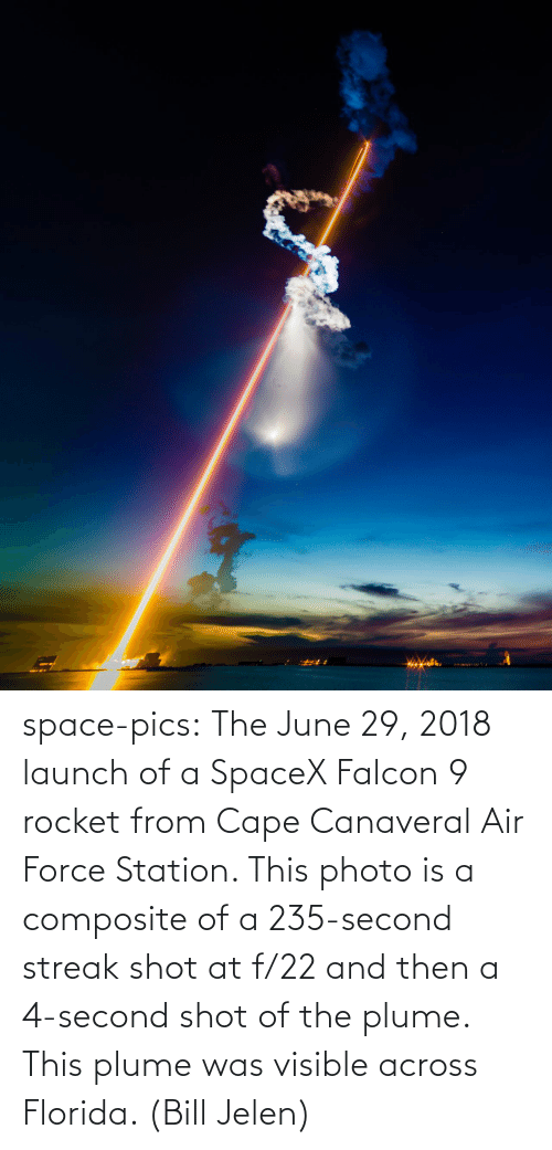 streak: space-pics:  The June 29, 2018 launch of a SpaceX Falcon 9 rocket from Cape Canaveral Air Force Station. This photo is a composite of a 235-second streak shot at f/22 and then a 4-second shot of the plume. This plume was visible across Florida. (Bill Jelen)