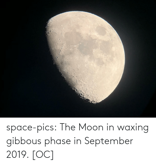 Moon: space-pics:  The Moon in waxing gibbous phase in September 2019. [OC]