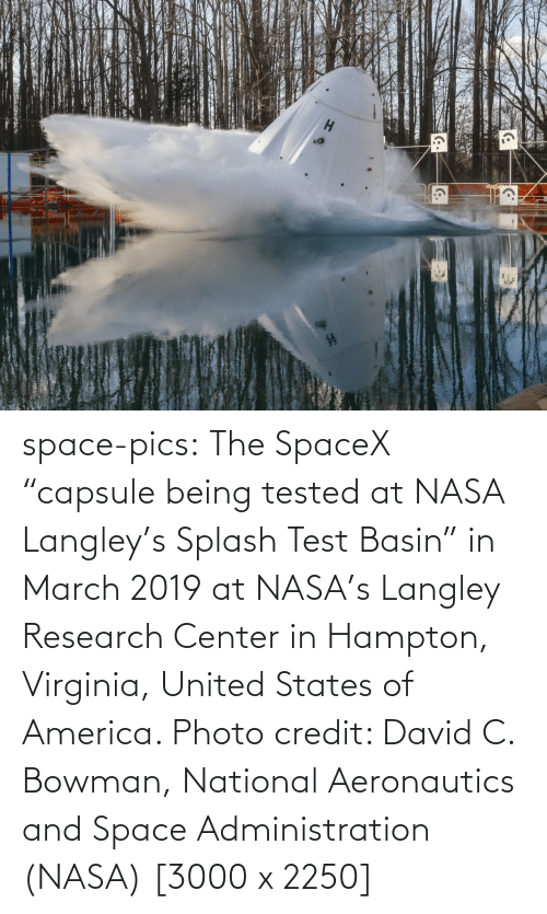 "Credit: space-pics:  The SpaceX ""capsule being tested at NASA Langley's Splash Test Basin"" in March 2019 at NASA's Langley Research Center in Hampton, Virginia, United States of America. Photo credit: David C. Bowman, National Aeronautics and Space Administration (NASA) [3000 x 2250]"