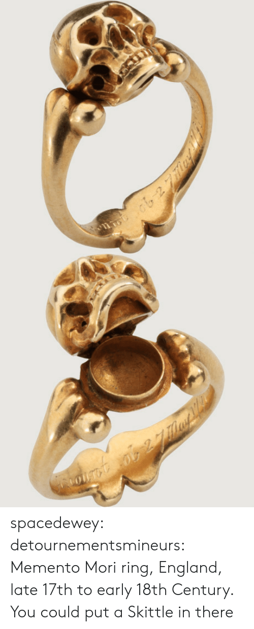 18Th Century: spacedewey:  detournementsmineurs: Memento Mori ring, England, late 17th to early 18th Century.  You could put a Skittle in there