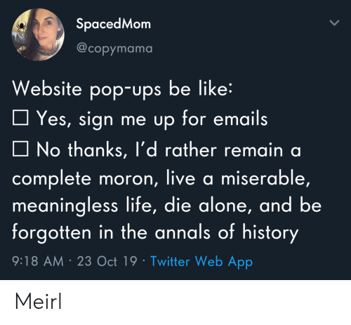 Emails: SpacedMom  @copymama  Website pop-ups be like:  Yes, sign me up for emails  No thanks, l'd rather remain a  complete moron, live a miserable,  meaningless life, die alone, and be  forgotten in the annals of history  9:18 AM 23 Oct 19 Twitter Web App Meirl