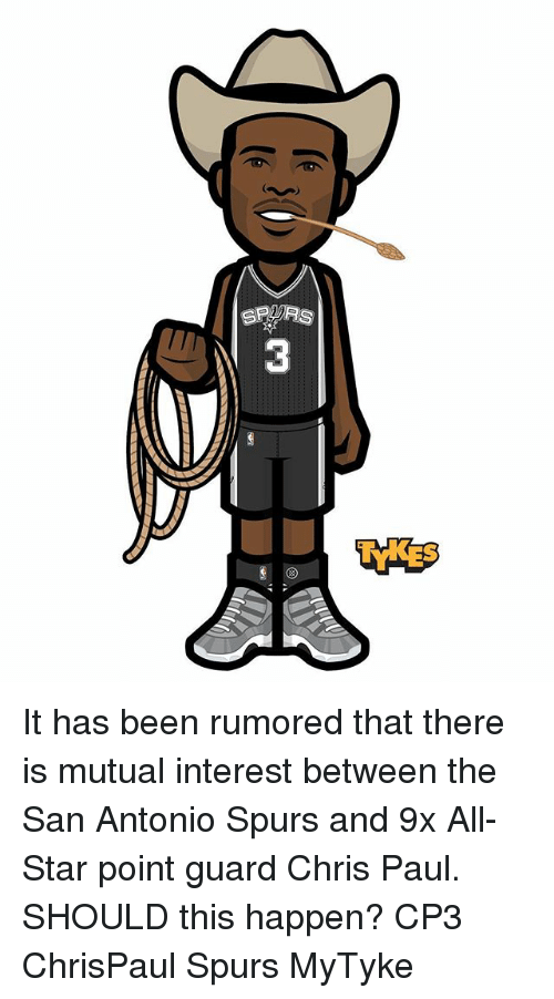San Antonio Spurs: SPARS It has been rumored that there is mutual interest between the San Antonio Spurs and 9x All-Star point guard Chris Paul. SHOULD this happen? CP3 ChrisPaul Spurs MyTyke