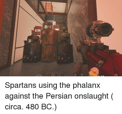 spartans: Spartans using the phalanx against the Persian onslaught ( circa. 480 BC.)