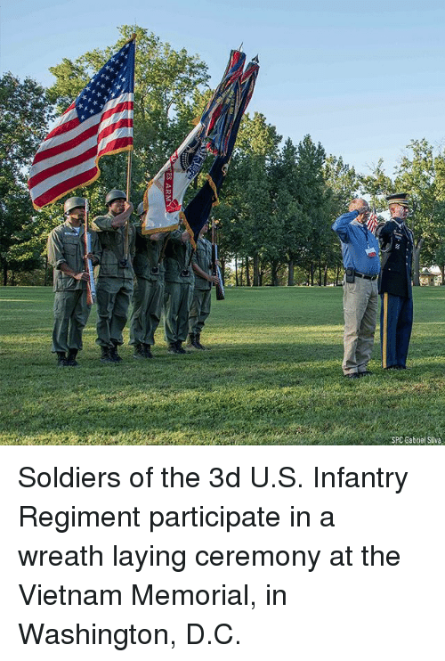 Memes, Soldiers, and Vietnam: SPC Gabriet Silva Soldiers of the 3d U.S. Infantry Regiment participate in a wreath laying ceremony at the Vietnam Memorial, in Washington, D.C.