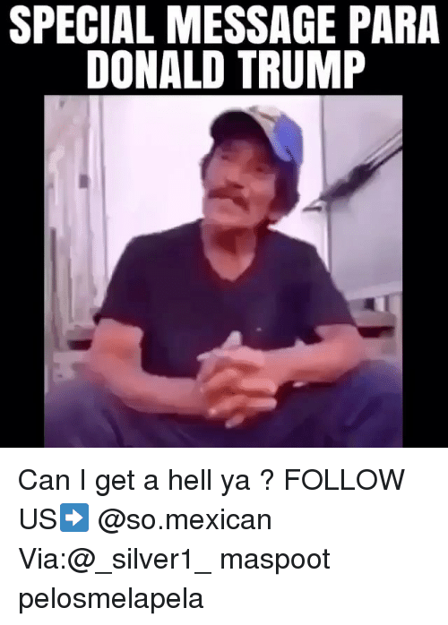 Paras: SPECIAL MESSAGE PARA  DONALD TRUMP Can I get a hell ya ? FOLLOW US➡️ @so.mexican Via:@_silver1_ maspoot pelosmelapela