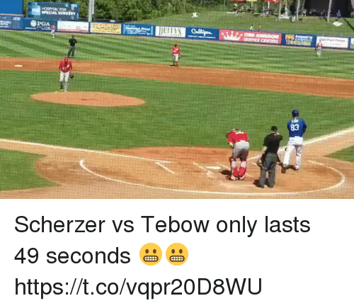 tebow: SPECIAL SURGERY  PGA  83 Scherzer vs Tebow only lasts 49 seconds 😬😬 https://t.co/vqpr20D8WU