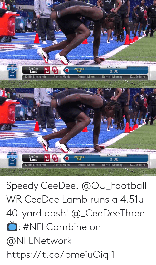 dash: Speedy CeeDee.  @OU_Football WR CeeDee Lamb runs a 4.51u 40-yard dash! @_CeeDeeThree  📺: #NFLCombine on @NFLNetwork https://t.co/bmeiuOiql1