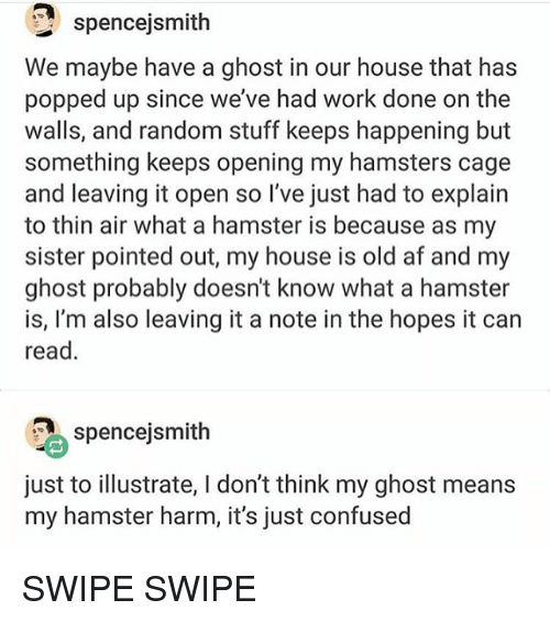 illustrate: spencejsmith  We maybe have a ghost in our house that has  popped up since we've had work done on the  walls, and random stuff keeps happening but  something keeps opening my hamsters cage  and leaving it open so l've just had to explain  to thin air what a hamster is because as my  sister pointed out, my house is old af and my  ghost probably doesn't know what a hamster  is, I'm also leaving it a note in the hopes it can  read.  spencejsmith  just to illustrate, l don't think my ghost means  my hamster harm, it's just confused SWIPE SWIPE