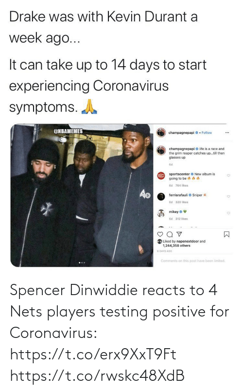 Nets: Spencer Dinwiddie reacts to 4 Nets players testing positive for Coronavirus: https://t.co/erx9XxT9Ft https://t.co/rwskc48XdB