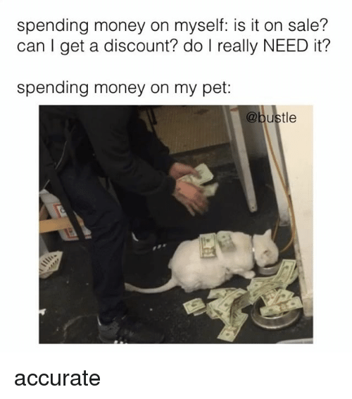 Memes, Money, and 🤖: spending money on myself: is it on sale?  can get a discount? do I really NEED it?  spending money on my pet:  ustle accurate
