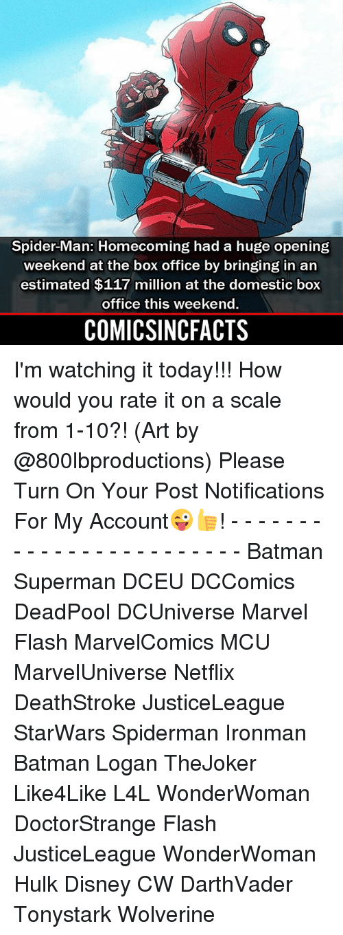 Batman, Disney, and Memes: Spider-Man: Homecoming had a huge opening  weekend at the box office by bringing in an  estimated $117 million at the domestic box  office this weekend  COMICSINCFACTS I'm watching it today!!! How would you rate it on a scale from 1-10?! (Art by @800lbproductions) Please Turn On Your Post Notifications For My Account😜👍! - - - - - - - - - - - - - - - - - - - - - - - - Batman Superman DCEU DCComics DeadPool DCUniverse Marvel Flash MarvelComics MCU MarvelUniverse Netflix DeathStroke JusticeLeague StarWars Spiderman Ironman Batman Logan TheJoker Like4Like L4L WonderWoman DoctorStrange Flash JusticeLeague WonderWoman Hulk Disney CW DarthVader Tonystark Wolverine
