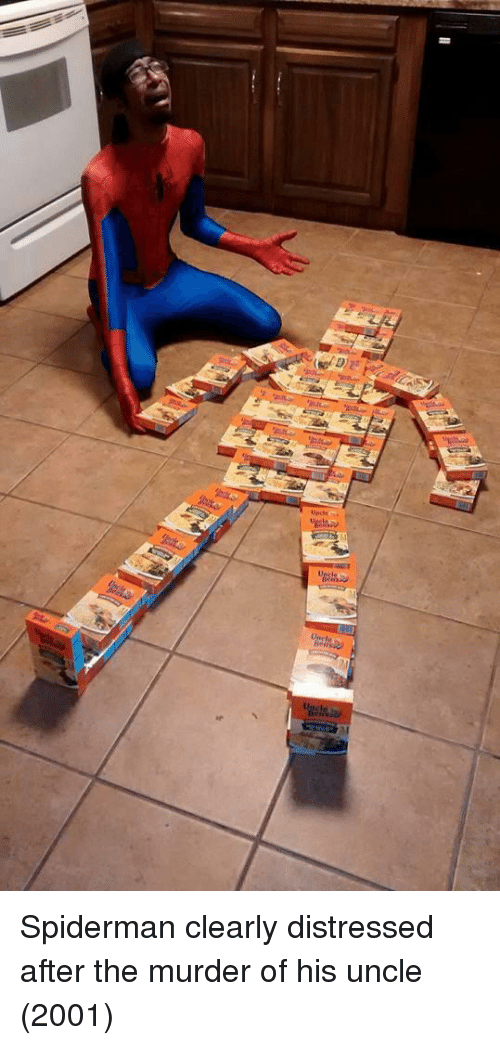 distressed: Spiderman clearly distressed after the murder of his uncle (2001)