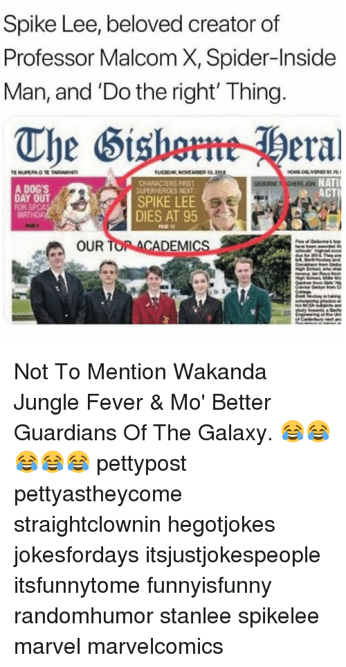 malcom x: Spike Lee, beloved creator of  Professor Malcom X, Spider-Inside  Man, and 'Do the right' Thing  The Sishmeral  CHARACTERS FIRST  SUPERHEROES NEXT  NATI  ACT  A DOG'S  FOR SPCA  DIES AT 95  OUR  ADEMICs Not To Mention Wakanda Jungle Fever & Mo' Better Guardians Of The Galaxy. 😂😂😂😂😂 pettypost pettyastheycome straightclownin hegotjokes jokesfordays itsjustjokespeople itsfunnytome funnyisfunny randomhumor stanlee spikelee marvel marvelcomics