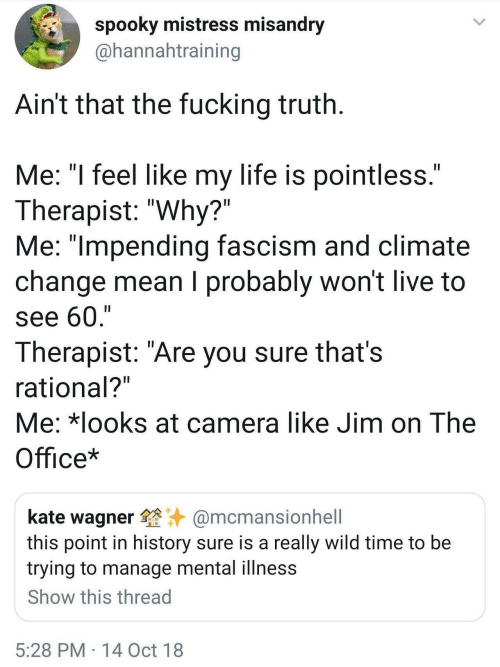 "rational: spooky mistress misandry  @hannahtraining  Ain't that the fucking truth  Me: ""l feel like my life is pointless  Therapist: ""Why?""  Me: ""lmpending fascism and climate  change mean I probably won't live to  see 60,'""  Therapist: ""Are you sure thats  rational?  Me: *looks at camera like Jim on The  Office*  kate wagner@mcmansionhell  this point in history sure is a really wild time to be  trying to manage mental illness  Show this thread  5:28 PM 14 Oct 18"