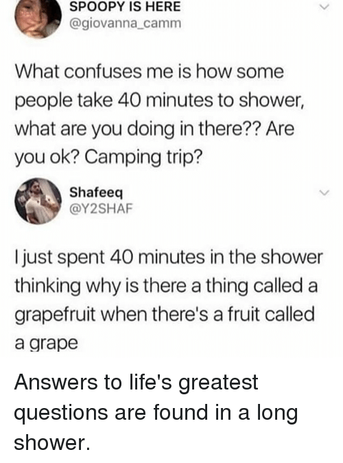 Memes, Shower, and 🤖: SPOOPY IS HERE  @giovanna_camm  What confuses me is how some  people take 40 minutes to shower,  what are you doing in there?? Are  you ok? Camping trip?  Shafeeq  @Y2SHAF  I just spent 40 minutes in the shower  thinking why is there a thing called a  grapefruit when there's a fruit called  a grape Answers to life's greatest questions are found in a long shower.