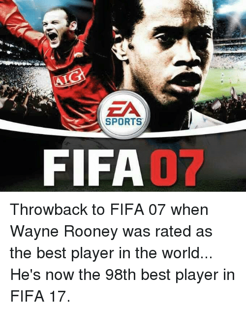 Fifa, Memes, and Sports: SPORTS  FIFA Throwback to FIFA 07 when Wayne Rooney was rated as the best player in the world... He's now the 98th best player in FIFA 17.