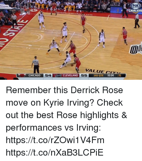 Derrick Rose, Kyrie Irving, and Memes: SPORTS  V CAVALIERS  0  64  VALUE CTx  54  CLEVELAND  3RD QTR 10:04 :15  CHICAG0 Remember this Derrick Rose move on Kyrie Irving? Check out the best Rose highlights & performances vs Irving: https://t.co/rZOwi1V4Fm https://t.co/nXaB3LCPiE