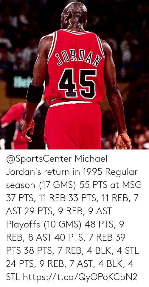season 17: @SportsCenter Michael Jordan's return in 1995  Regular season (17 GMS) 55 PTS at MSG 37 PTS, 11 REB 33 PTS, 11 REB, 7 AST 29 PTS, 9 REB, 9 AST  Playoffs (10 GMS) 48 PTS, 9 REB, 8 AST 40 PTS, 7 REB 39 PTS 38 PTS, 7 REB, 4 BLK, 4 STL 24 PTS, 9 REB, 7 AST, 4 BLK, 4 STL   https://t.co/QyOPoKCbN2