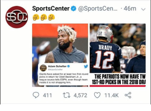 Espn, Odell Beckham Jr., and Patriotic: SportsCenter@ @SportsCen...-46m  12  BRADY  12  Adam Schefter  Giants have asked for at least two first-round  picks in return for Odell Beckham Jr., a  league source tells ESPN, even though team  insists it is not shopping him.  nt o del THE PATRIOTS NOW HAVE TW  941 1 ロ4,572 11.4K