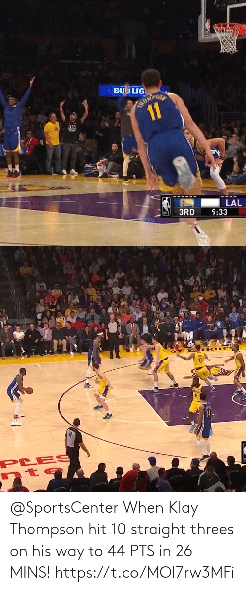 Mins: @SportsCenter When Klay Thompson hit 10 straight threes on his way to 44 PTS in 26 MINS!   https://t.co/MOI7rw3MFi