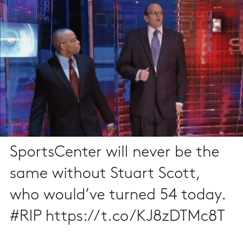 SportsCenter: SportsCenter will never be the same without Stuart Scott, who would've turned 54 today. #RIP https://t.co/KJ8zDTMc8T