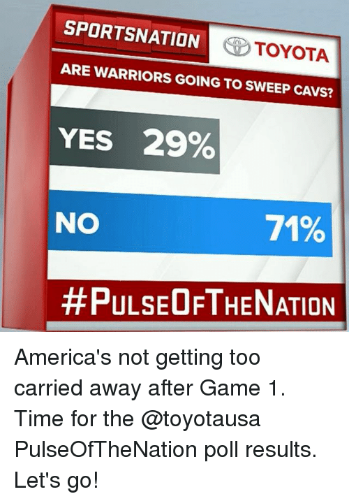 Cavs, Memes, and Toyota: SPORTSNATION  TOYOTA  ARE WARRIORS GOING TO SWEEP CAVS?  YES 29%  NO  71%  #PULSEOFTHE NATION America's not getting too carried away after Game 1. Time for the @toyotausa PulseOfTheNation poll results. Let's go!