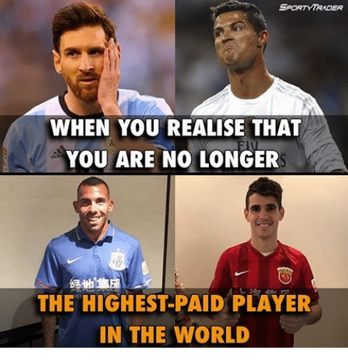 Memes, 🤖, and Player: SPORTY TRADER  WHEN YOU REALISE THAT  YOU ARE NO LONGER  THE HIGHEST PAID PLAYER  IN THE WORLD