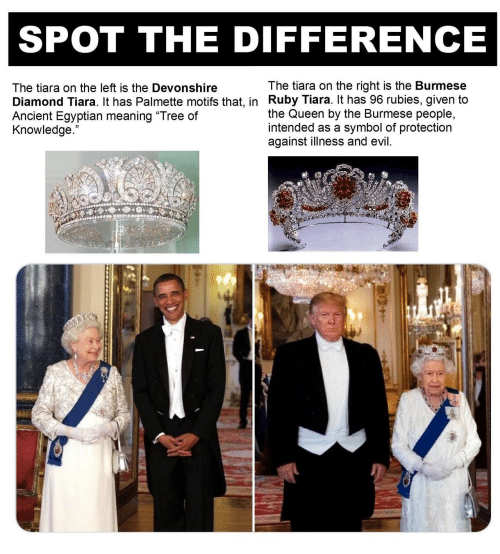 """the queen: SPOT THE DIFFERENCE  The tiara on the right is the Burmese  Diamond Tiara. It has Palmette motifs that, in Ruby Tiara. It has 96 rubies, given to  the Queen by the Burmese people,  symbol of protection  The tiara on the left is the Devonshire  Ancient Egyptian meaning """"Tree of  Knowledge.  intended as a  against illness and evil."""