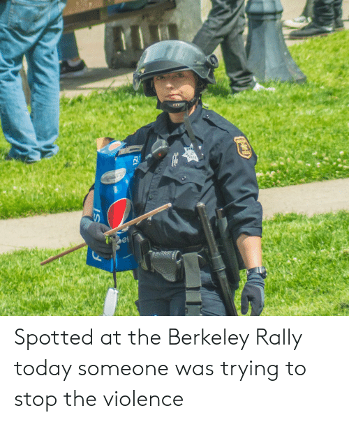 Berkeley: Spotted at the Berkeley Rally today someone was trying to stop the violence