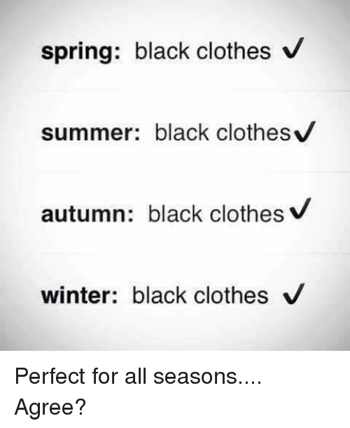 Clothes, Memes, and Winter: spring: black clothes V  summer: black clothesv  autumn: black clothes V  winter: black clothes V Perfect for all seasons.... Agree?
