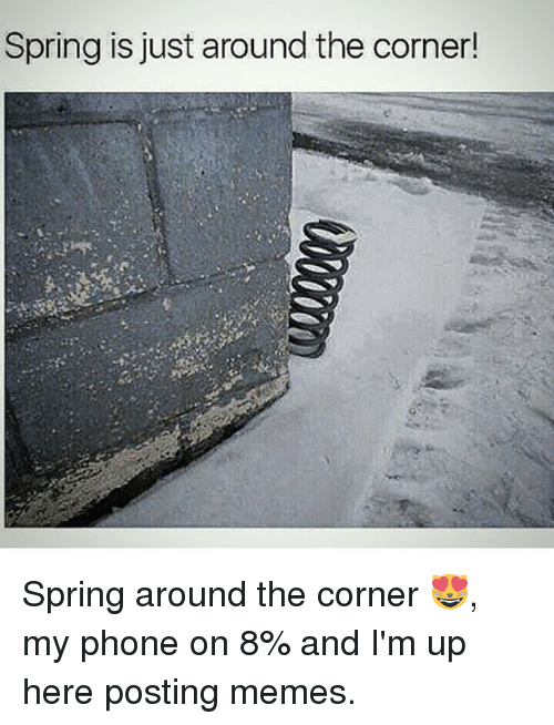 Memes, Phone, and Spring: Spring is just around the corner! Spring around the corner 😻, my phone on 8% and I'm up here posting memes.