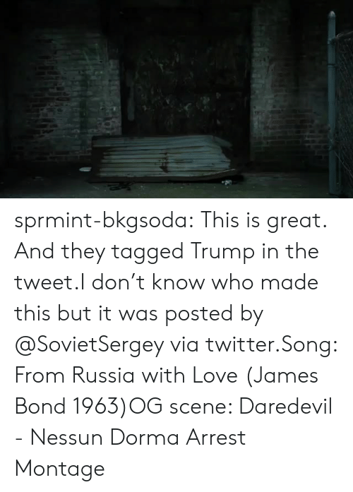 James Bond: sprmint-bkgsoda:  This is great. And they tagged Trump in the tweet.I don't know who made this but it was posted by @SovietSergey via twitter.Song: From Russia with Love (James Bond 1963)OG scene: Daredevil - Nessun Dorma Arrest Montage