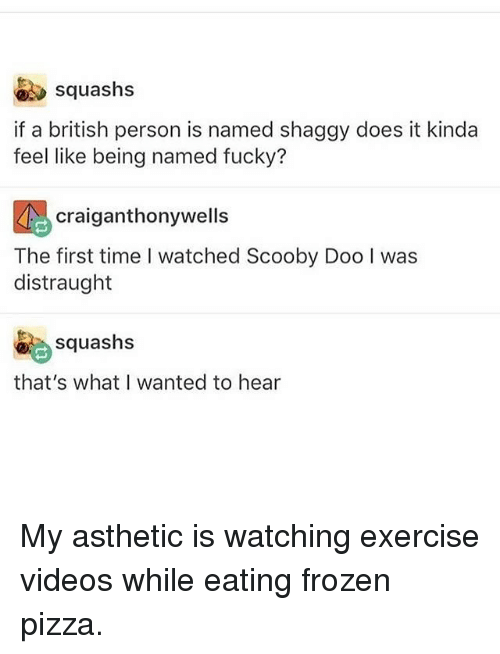 Frozen, Memes, and Pizza: squashs  if a british person is named shaggy does it kinda  feel like being named fucky?  craiganthonywell:s  The first time I watched Scooby Doo I was  distraught  squashs  that's what I wanted to hear My asthetic is watching exercise videos while eating frozen pizza.